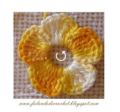 Flor de Crochê 5 Pétalas, simples e sem miolo