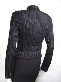 90's Giorgio Armani Luxurious Beaded Black Jacket | From a collection of rare vintage jackets at http://www.1stdibs.com/fashion/clothing/jackets/