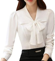 c2bd473b JHVYF Women's Chiffon Long Sleeve Blouse Bow-Tie V Neck Slim Fit Button  Down Shirt White US 10(Asian Tag 4XL) at Amazon Women's Clothing store: