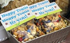 """""""happy trails"""" trail mix - cute gift to go but I would make the """"topper"""" tags a bit more mature looking/classy"""