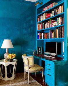 House of Turquoise: Tilton Fenwick lacquered blue walls Loft Design, House Design, Home Office, Corner Office, Office Nook, Office Spaces, Bauhaus, Downtown Lofts, Soho Loft