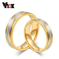 Vnox 2pcs/lots Classic Wedding Ring For Women Men Gold-color 316l Stainless Steel Engagement Jewelry