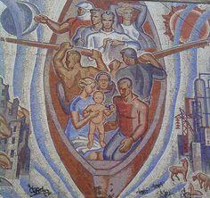 Мозаичное панно «Волга – русская река» (смальта, керамика), г. Балаково (РСФСР). Кузнецов А.Н. 1966