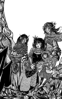 """Zinkx, Shanty, Sami and Skyeola from """"Protectors: Book Two"""" of Chronicles of the Children by Kylie Leane."""