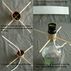 DIY lamp with a bottle + Tutorial / Lampara con una botella - Ohoh deco Diy Bottle, Bottle Art, Bottle Crafts, Glass Bottle, Mobil Origami, Homemade Lamps, Homemade Lamp Shades, Diy Tumblr, Lamp Makeover