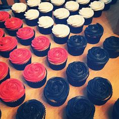 Red, Black & Ivory rosette cupcakes for a wedding :)