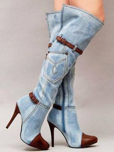 96.88$ Watch here - http://ali3or.worldwells.pw/go.php?t=32785431538 - high quality brand woman winter shoes 2017 knee high boots fashion brand high heels sexy platform denim boots jeans 96.88$