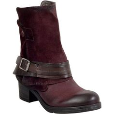 Miz Mooz Sargent Women's Motorcycle Boot F Boot ($200) ❤ liked on Polyvore featuring shoes, boots, wine, leather moto boots, side zip boots, leather buckle boots, fake leather boots and engineer boots