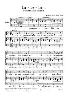 La Le Lu (Klavier + Gesang) Heinz Rühmann >>> KLICK auf die Noten um Reinzuhören <<<