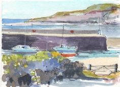 Original Watercolour Painting ACEO -Harbour - by Annabel Burton