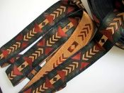 TRIBAL ARROWS, wide, RUST, BROWN, GREEN, BEIGE ON BLACK