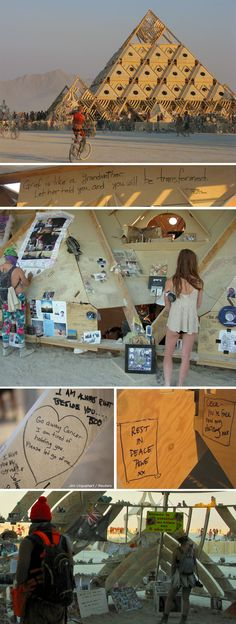 Visit the Temple, where people scrawl messages and leave memorials to people they lost this year. | 24 Hours At Burning Man