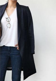 Minimal + Chic | @codeplusform- long black blazer- white tee- dark blue jeans- specs tucked into white tee- simple perfection- fashion- street style