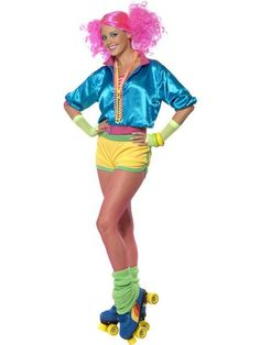 Heading to roller disco?t look out of place with the Skater Girl Costume. This female fancy dress costume includes a neon top, shorts and boob tube. Complete the show stopping look with our Bunches Wig. 1980s Fancy Dress, Adult Fancy Dress, Ladies Fancy Dress, Costume Disco, Eighties Costume, Girl Costumes, Adult Costumes, Costumes For Women, Funny Costumes