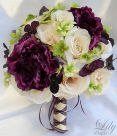 """17 Pieces Wedding Bridal Bouquet Set Decoration Package Silk Flowers PLUM EGGPLANT """"Lily Of Angeles"""" on Etsy, 1 kr // (I like the lace & hints of green flowers) Purple Wedding Bouquets, Silk Flower Bouquets, Flower Bouquet Wedding, Silk Flowers, Plum Wedding Flowers, Green Flowers, Flowers Garden, Plum Wedding Decor, Ivory Wedding"""