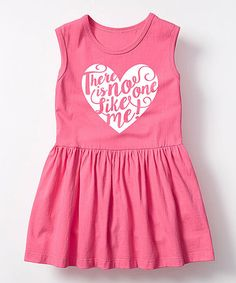 Love this Raspberry 'No One Like Me' Sleeveless Dress - Toddler & Girls on #zulily! #zulilyfinds