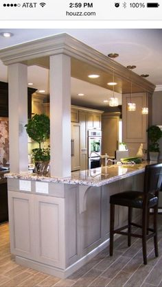 Kitchen Living Rooms Remodeling Galley Kitchen With Bar Separating Dining Room Design Ideas, Pictures, Remodel, and Decor - page 2 - Galley Kitchen Remodel, Kitchen Redo, Kitchen Living, Kitchen And Bath, New Kitchen, Kitchen Ideas, Kitchen Pass, Kitchen Pictures, Kitchen Storage