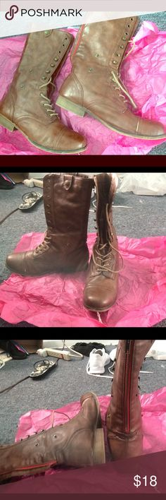 TALL BROWN BOOTS💃🏽👢 Worn tall brown boots, size 9 but can fit an 8.5 like me😊 , red zipper in the back and can lace up, only problem is the left boot zipper have some trouble zipping up but can still work NOT STEVE MADDEN Steve Madden Shoes Combat & Moto Boots