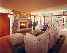 Relax in re-design home from Hickox Williams Architects in Lexington, Massachusetts; you are not only get peace of tranquility but also the soul. Using the style early 50s, the house using the matching furniture with the building materials natural brown color, the fireplace also using stones in same color. The gallery stair hall gathers the spaces, public and private, about it to celebrate the as a cross rods of this young family and to link into the neighborhood common land.