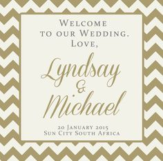 Gold Chevron Custom Label for a Wedding Welcome Bag by 4WeddingWelcomeBags, $18.00