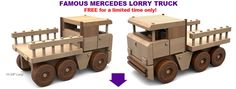 FREE Famous Mercedes Lorry Truck Wood Toy Plan Set!