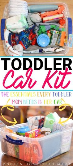 Toddler Car Kit: The Essentials Every Toddler Mom Needs In Her Car - Modern Homestead Mama - hacks Mom Hacks, Baby Hacks, Baby Tips, Life Hacks, Life Tips, Toddler Snacks, Toddler Activities, Toddler Stuff, Toddler Adhd