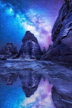 Color of the Sky Reflected milky way , Saudi Arabia the amazing Milky Way Beautiful Moon Beautiful Sky, Beautiful World, Beautiful Places, Amazing Photography, Landscape Photography, Nature Photography, Night Photography, Landscape Photos, All Nature