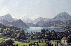 1840 ca. Küssnacht am Rigi showing Merlischachen - fine miniature hand colored…