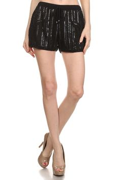 Black Sequin Beaded Shorts