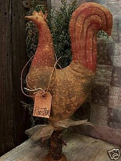 ♥primitive♥15 in. rooster♥chicken♥old wooden bobbin♥ ♥ - ebay (item 170299815260 end time feb-10-09 16:06:16 pst)