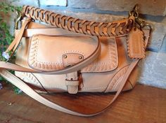 COACH Vachetta Natural Leather Poppy Whipstitch Coral Lining Satchel Bag 19012 #Coach #ShoulderBag
