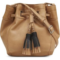 Nine West Take A Lift Crossbody (€46) ❤ liked on Polyvore featuring bags, handbags, shoulder bags, dark camel, tassel purse, crossbody shoulder bag, beige handbags, camel purse and nine west purses