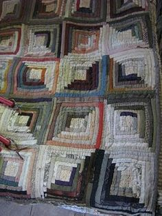 log cabin quilt would adapt well to a rug  this covers my love of Chevrons too.  What an amazing quilt