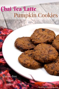 Chai Tea Latte Pumpkin Cookies from Healthy Helper Blog...grain-free, gluten-free, vegan cookies with all the taste of your favorite coffee shop latte! Delicious and nutritious! [healthy recipes, clean eating, cookies, healthy cookies, pumpkin, chai, tea, paleo, flourless, healthy food, healthy living, treat, dessert, healthy dessert]