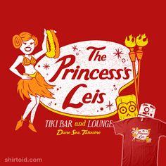 """The Princess's Leis"" by Blair J. Campbell Star Wars themed tiki bar design featuring Princess Leia, and Tiki Hawaii, Tiki Art, Tiki Tiki, Star Wars Day, Star Trek, Hawaiian Art, Leis, Princess Leia, 4 Kids"