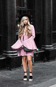 jessakae fashion week pink dress, fashion, street style, womens fashion, bell sleeve dress, nyfw, new york fashion week, pink dress, cocktail dress, party dress