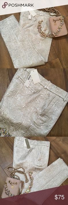 NWT J CREW BROCADE PANTS NWT.  LIGHT CREAM COLOR WITH A VERY SLIGHT SHIMMER AS SHOWN IN PICTURES. VERY COMFORTABLE FIT. THEY GO WITH EVERYTHING. CLASSIC WARDROBE PIECE. J. Crew Pants