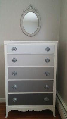 Hydrangeas and Harmony: Gray Ombre Dresser #refinishedfurniture