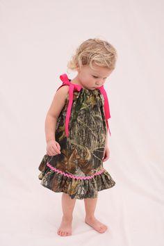 Baby girl camo dress, Mossy oak hot pink pillowcase dress, Camo Flower girl dress. $27.50, via Etsy.