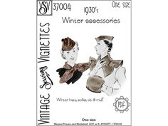 1930's Winter accessories One size PDF sewing pattern | Etsy
