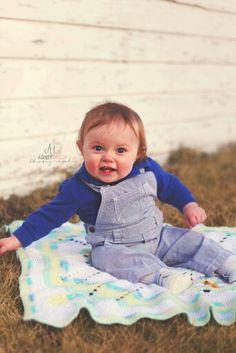 North Dakota photographer Ashley Taylor Photography  #cute #babyboy #boy #overalls #smile #1year