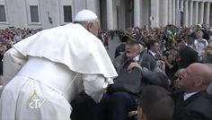 #Vatican security lifted this woman up while in her wheelchair to speak to #PopeFrancis, moving her to tears