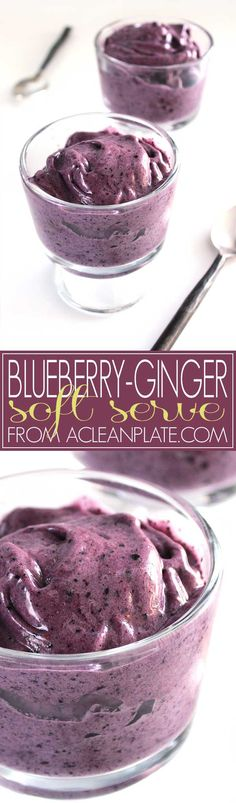 Made entirely of frozen fruit, with no added sugar and all-natural flavors, this healthy soft serve recipe is sure to hit the spot this summer! Blueberry Recipes, Fruit Recipes, Yummy Recipes, Whole Food Recipes, Vegan Recipes, Dessert Recipes, Yummy Food, Ginger Ice Cream, Vegane Rezepte