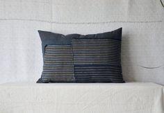 Indigo oreiller kapok coussin japonais boro tissu eco maison style décor naturel boho Bohème sashiko rayé bleu patchwork coussins
