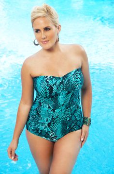 Sexy bandeau  underwire plus size bathing suit . As seen in PLUS Model Magazine -The Serpent 1 Pc Underwire Swimsuit