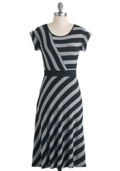 An Afternoon With You Dress - Long, Black, Grey, Stripes, Casual, A-line, Cap Sleeves, Fall, Variation, Top Rated