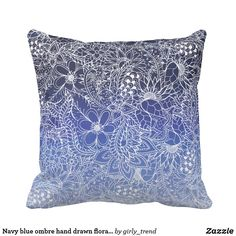 Navy blue ombre hand drawn floral pattern throw pillow