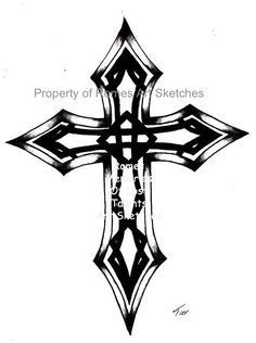 Ink Sketch Black Celtic Cross Tatoo Design