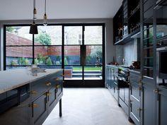 The Victorian Terrace / Hackney Kitchen / Crittal Doors by Buster + Punch Kitchen Doors, Open Plan Kitchen, New Kitchen, Kitchen Interior, Kitchen Dining, Kitchen Island, Black Kitchens, Home Kitchens, Crittal Doors