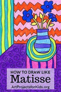 Artists For Kids, Art For Kids, 2nd Grade Art, Matisse Art, Virtual Art, Art Drawings For Kids, Crayon Art, Art Lessons Elementary, You Draw